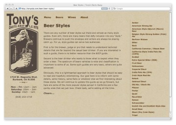 Index of Beer Styles